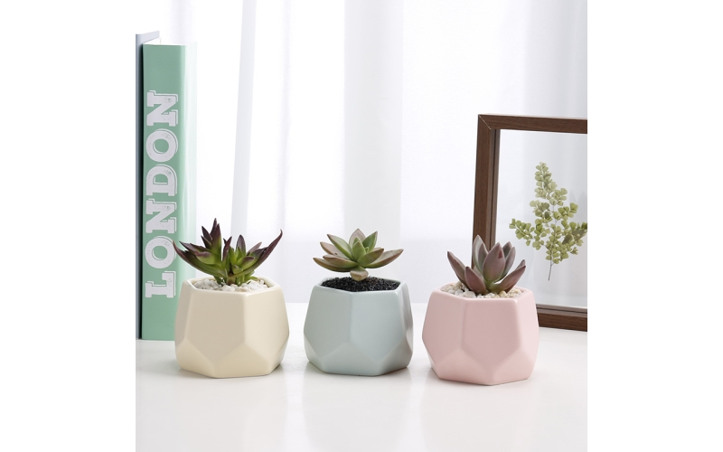 Nordic style indoor colorful ceramic hexagon small succulent plant pots cactus pots