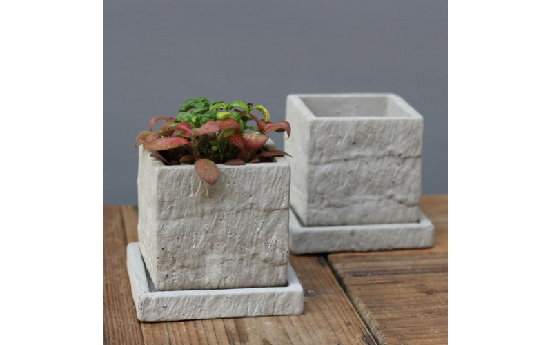 New design garden pots & planters, concrete square plant pot with drainage tray