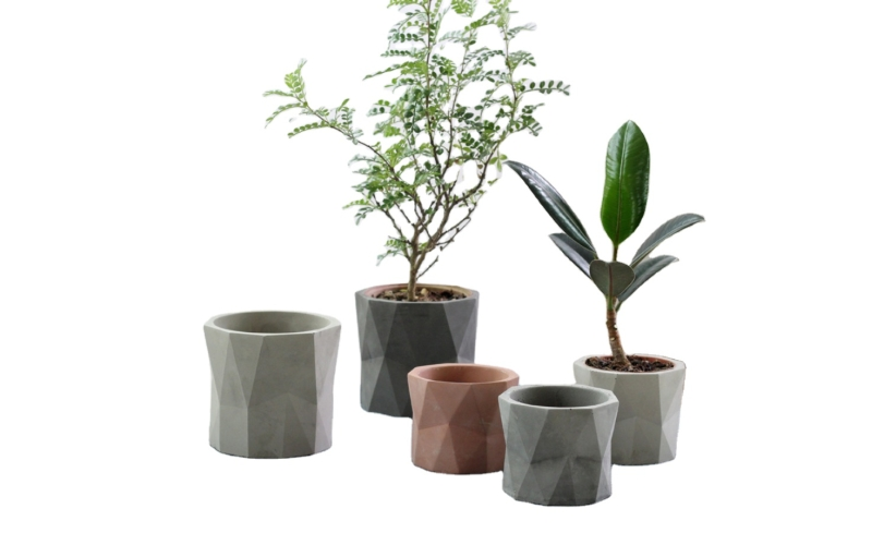 Nordic style indoor gardening geometric planter flower pot vase cement